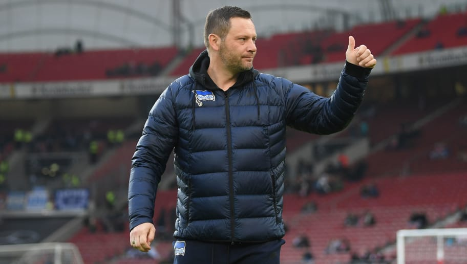 STUTTGART, GERMANY - JANUARY 13: Pal Dardai, coach of Berlin, before the Bundesliga match between VfB Stuttgart and Hertha BSC at Mercedes-Benz Arena on January 13, 2018 in Stuttgart, Germany. (Photo by Matthias Hangst/Bongarts/Getty Images)