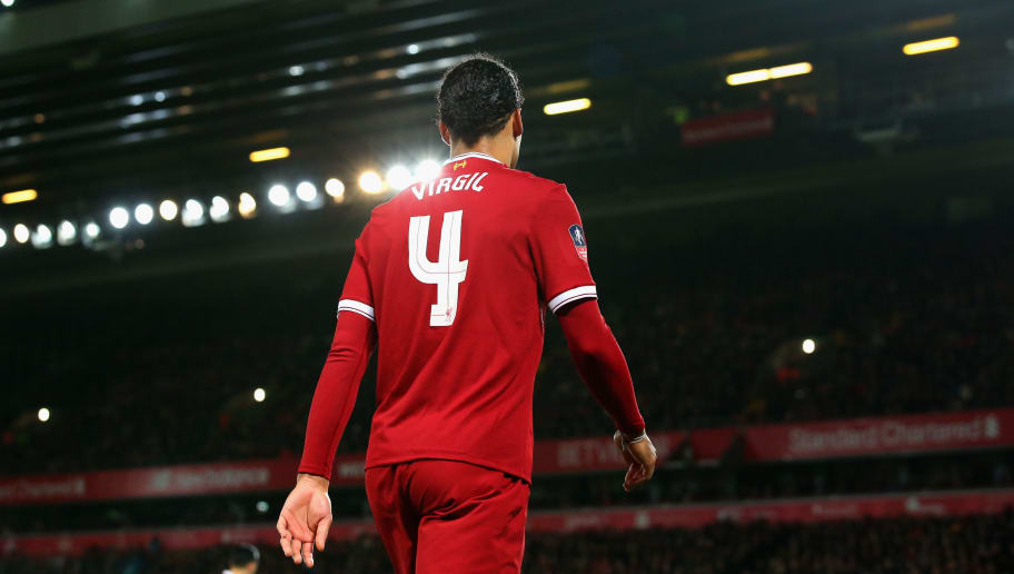LIVERPOOL, ENGLAND - JANUARY 27:  Virgil van Dijk of Liverpool is pictured during The Emirates FA Cup Fourth Round match between Liverpool and West Bromwich Albion at Anfield on January 27, 2018 in Liverpool, England.  (Photo by Alex Livesey/Getty Images)
