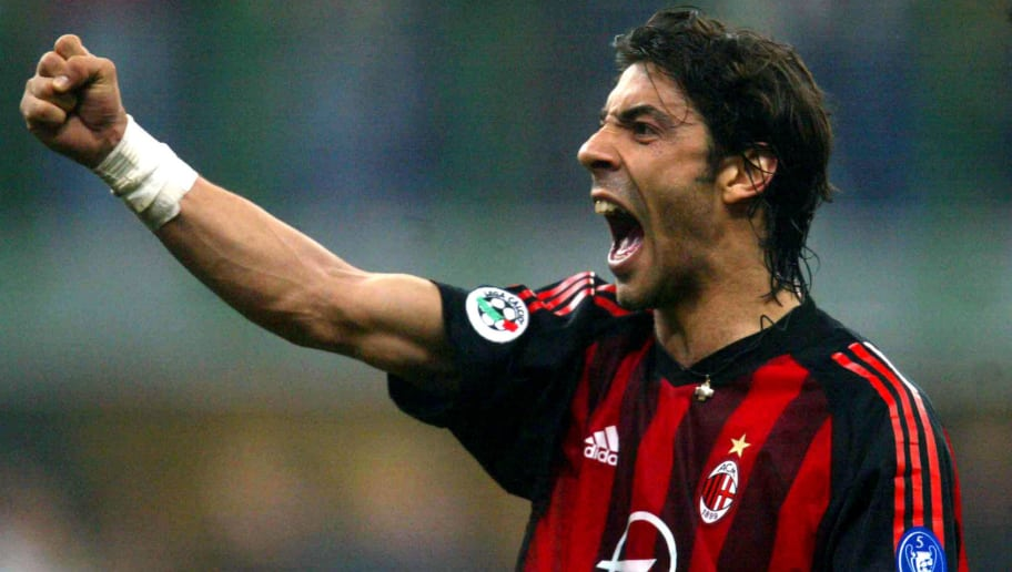MILAN - APRIL 11:  Manuel Rui Costa of AC Milan celebrates as his team score during the Serie A match between Inter Milan and AC Milan, played at the 'Giuseppe Meazza' San Siro Stadium, Milan, Italy on April 11, 2003.  (Photo by Grazia Neri/Getty Images)