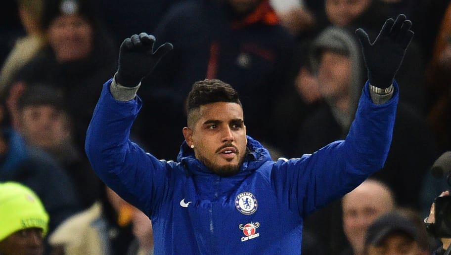 Newly signed Chelsea defender Emerson Palmieri gestures to fans during the English Premier League football match between Chelsea and Bournemouth at Stamford Bridge in London on January 31, 2018. / AFP PHOTO / Glyn KIRK / RESTRICTED TO EDITORIAL USE. No use with unauthorized audio, video, data, fixture lists, club/league logos or 'live' services. Online in-match use limited to 75 images, no video emulation. No use in betting, games or single club/league/player publications.  /         (Photo credit should read GLYN KIRK/AFP/Getty Images)