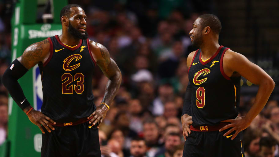 BOSTON, MA - JANUARY 3: LeBron James #23 of the Cleveland Cavaliers talks with Dwyane Wade #9 during the second half against the Boston Celtics at TD Garden on January 3, 2018 in Boston, Massachusetts. (Photo by Maddie Meyer/Getty Images)