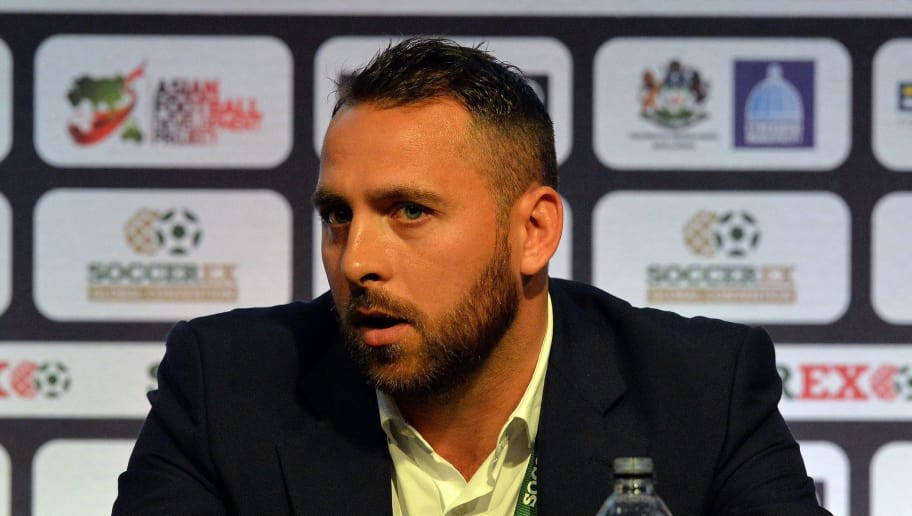 Kerala Blasters footballer Michael Chopra speaks about football in India during the Soccerex Global Convention 2014 in Manchester, north-west England, on September 8, 2014.  AFP PHOTO/PAUL ELLIS        (Photo credit should read PAUL ELLIS/AFP/Getty Images)
