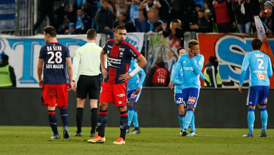 Caen's French defender Alexander Djiku reacts Marseille's second goal  during the French L1 football match between Caen (SMC) and Marseille (OM) on January 19, 2018, at the Michel d'Ornano stadium in Caen, northwestern France. / AFP PHOTO / CHARLY TRIBALLEAU        (Photo credit should read CHARLY TRIBALLEAU/AFP/Getty Images)