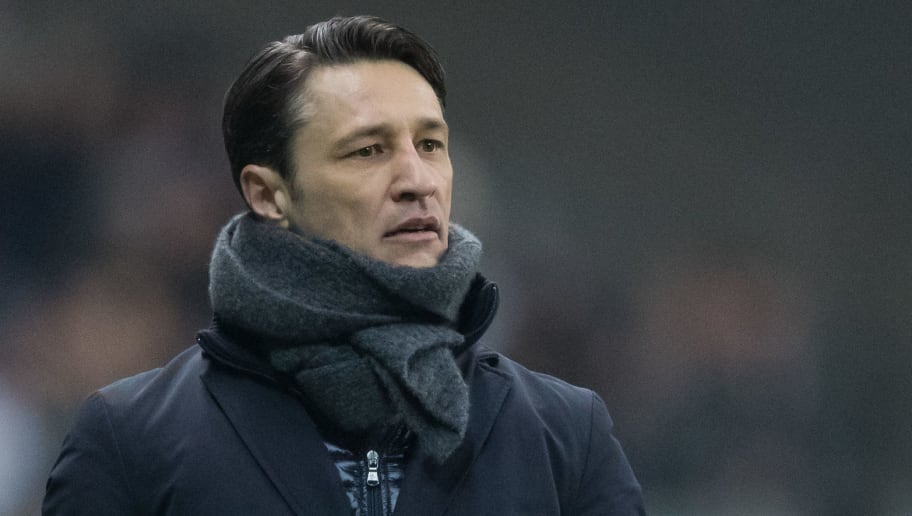 FRANKFURT AM MAIN, GERMANY - FEBRUARY 07: Head coach Niko Kovac of Frankfurt looks on during the DFB Cup quarter final match between Eintracht Frankfurt and 1. FSV Mainz 05 at Commerzbank-Arena on February 7, 2018 in Frankfurt am Main, Germany. (Photo by Simon Hofmann/Bongarts/Getty Images)
