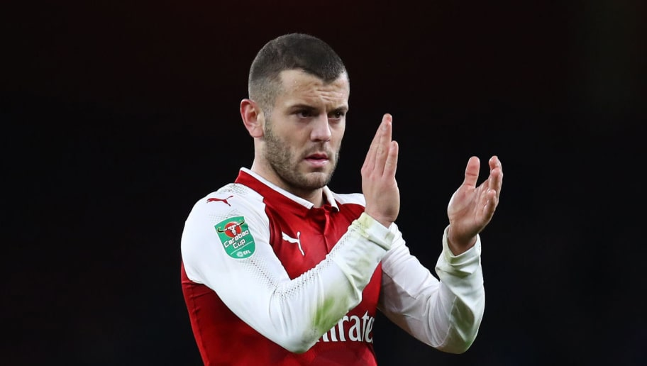 LONDON, ENGLAND - JANUARY 24:  Jack Wilshere of Arsenal applauds fans during the Carabao Cup Semi-Final Second Leg at Emirates Stadium on January 24, 2018 in London, England.  (Photo by Julian Finney/Getty Images)