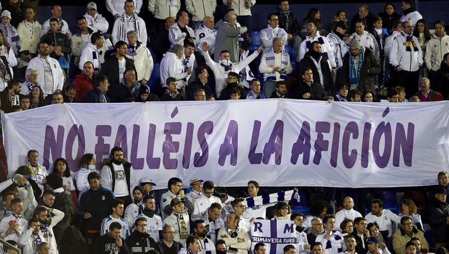 VALENCIA, SPAIN - FEBRUARY 03:  Real Madrid fans cheer on their team before the La Liga match between Levante and Real Madrid at Ciutat de Valencia on February 3, 2018 in Valencia, Spain.  (Photo by Manuel Queimadelos Alonso/Getty Images)