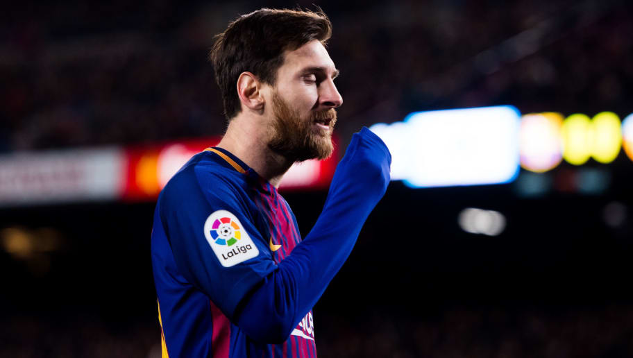BARCELONA, SPAIN - FEBRUARY 01:  Lionel Messi of FC Barcelona reacts during the Copa del Rey semi-final first leg match between FC Barcelona and Valencia CF at Camp Nou on February 1, 2018 in Barcelona, Spain.  (Photo by Alex Caparros/Getty Images)