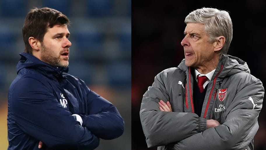 FILE PHOTO (EDITORS NOTE: COMPOSITE OF TWO IMAGES - Image numbers (L) 635481924 and 664948828) In this composite image a comparison has been made between Mauricio Pochettino,Manager of Tottenham Hotspur  (L) and  Arsene Wenger, Manager of Arsenal. Tottenham Hotspur and Arsenal meet in a Premier League match at Wembley Stadium on February 10,2018 in London,England.   ***LEFT IMAGE*** GENT, BELGIUM - FEBRUARY 15: Tottenham Hotspur Head Coach / Manager, Mauricio Pochettino looks on during the Tottenham Hotspur Training Session held at the Ghelamco Arena stadium on February 15, 2017 in Gent, Belgium. KAA Gent will play Tottenham Hotspur in their Europa League match on the February 16, 2017. (Photo by Dean Mouhtaropoulos/Getty Images) ***RIGHT IMAGE***  LONDON, ENGLAND - APRIL 05: Arsene Wenger, Manager of Arsenal looks on during the Premier League match between Arsenal and West Ham United at the Emirates Stadium on April 5, 2017 in London, England. (Photo by Shaun Botterill/Getty Images,)