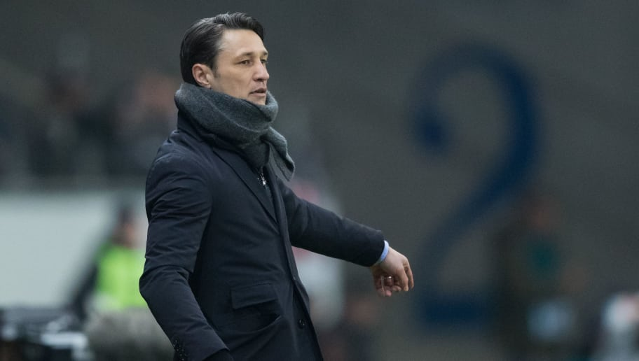 FRANKFURT AM MAIN, GERMANY - FEBRUARY 07: Head coach Niko Kovac of Frankfurt gestures during the DFB Cup quarter final match between Eintracht Frankfurt and 1. FSV Mainz 05 at Commerzbank-Arena on February 7, 2018 in Frankfurt am Main, Germany. (Photo by Simon Hofmann/Bongarts/Getty Images)
