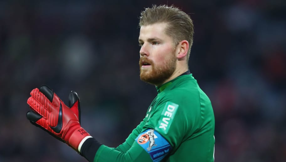 MUNICH, GERMANY - DECEMBER 13:  Timo Horn, keeper of Kolen looks on during the Bundesliga match between FC Bayern Muenchen and 1. FC Koeln at Allianz Arena on December 13, 2017 in Munich, Germany.  (Photo by Alexander Hassenstein/Bongarts/Getty Images)