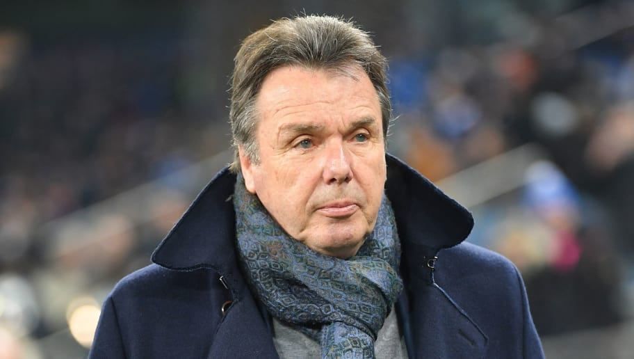 HAMBURG, GERMANY - JANUARY 20:  Heribert Bruchhagen, manager of Hamburg  looks on before the Bundesliga match between Hamburger SV and 1. FC Koeln at Volksparkstadion on January 20, 2018 in Hamburg, Germany.  (Photo by Stuart Franklin/Bongarts/Getty Images)