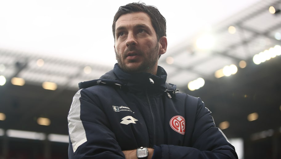 MAINZ, GERMANY - FEBRUARY 03: Sandro Schwarz, coach of Mainz, looks on before the Bundesliga match between 1. FSV Mainz 05 and FC Bayern Muenchen at Opel Arena on February 3, 2018 in Mainz, Germany. (Photo by Alex Grimm/Bongarts/Getty Images)