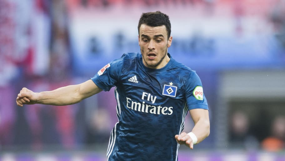 Hamburg´s Serbian midfielder Filip Kostic plays the ball during the German first division Bundesliga football match between RB Leipzig and Hamburger SV in Leipzig, eastern Germany on January 27, 2018.  / AFP PHOTO / ROBERT MICHAEL        (Photo credit should read ROBERT MICHAEL/AFP/Getty Images)