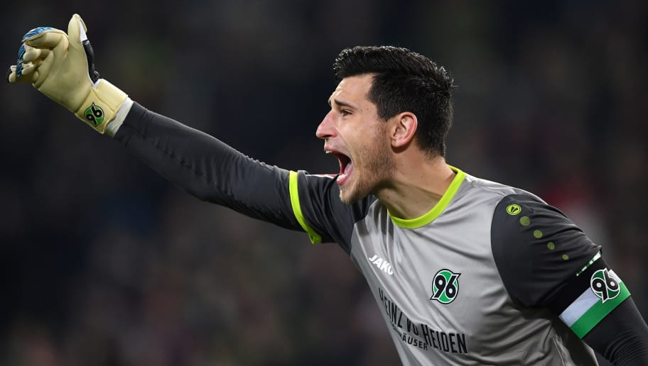 HANOVER, GERMANY - JANUARY 28:  Philipp Tschauner of Hannover shouts during the Bundesliga match between Hannover 96 and VfL Wolfsburg at HDI-Arena on January 28, 2018 in Hanover, Germany.  (Photo by Stuart Franklin/Bongarts/Getty Images)