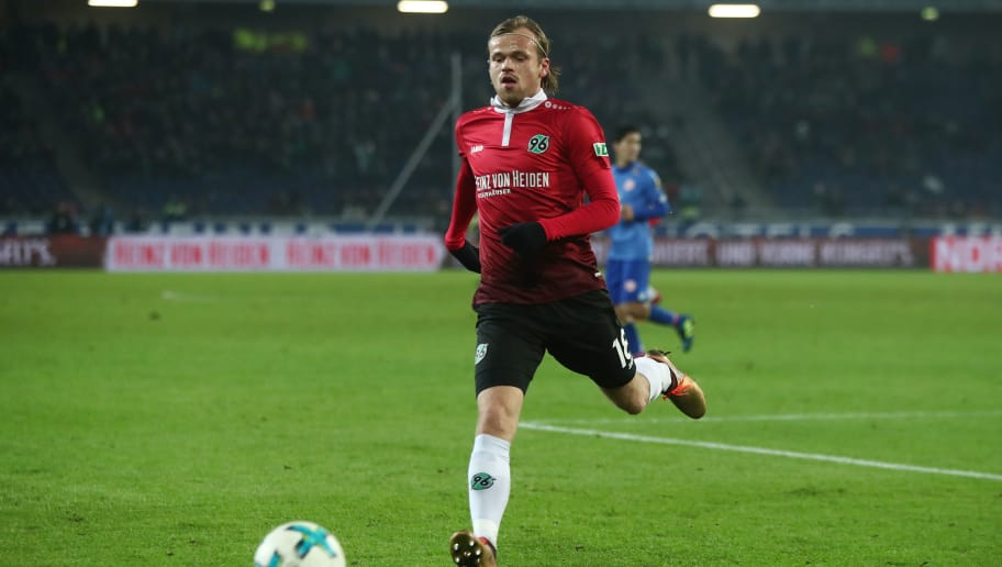 HANOVER, GERMANY - JANUARY 13:  Iver Fossum of Hannover in action during the Bundesliga match between Hannover 96 and 1. FSV Mainz 05 at HDI-Arena on January 13, 2018 in Hanover, Germany.  (Photo by Oliver Hardt/Bongarts/Getty Images)