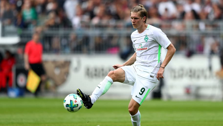 HAMBURG, GERMANY - JULY 22:  Aaron Johannsson of Bremen runs with the ball during the preseason friendly match between FC St. Pauli and Werder Bremen at Millerntor Stadium on July 22, 2017 in Hamburg, Germany.  (Photo by Martin Rose/Bongarts/Getty Images)