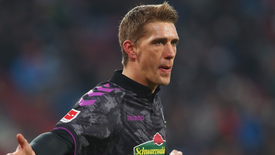 AUGSBURG, GERMANY - DECEMBER 16:  Nils Petersen of Freiburg reacts during the Bundesliga match between FC Augsburg and Sport-Club Freiburg at WWK-Arena on December 16, 2017 in Augsburg, Germany.  (Photo by Alexander Hassenstein/Bongarts/Getty Images)