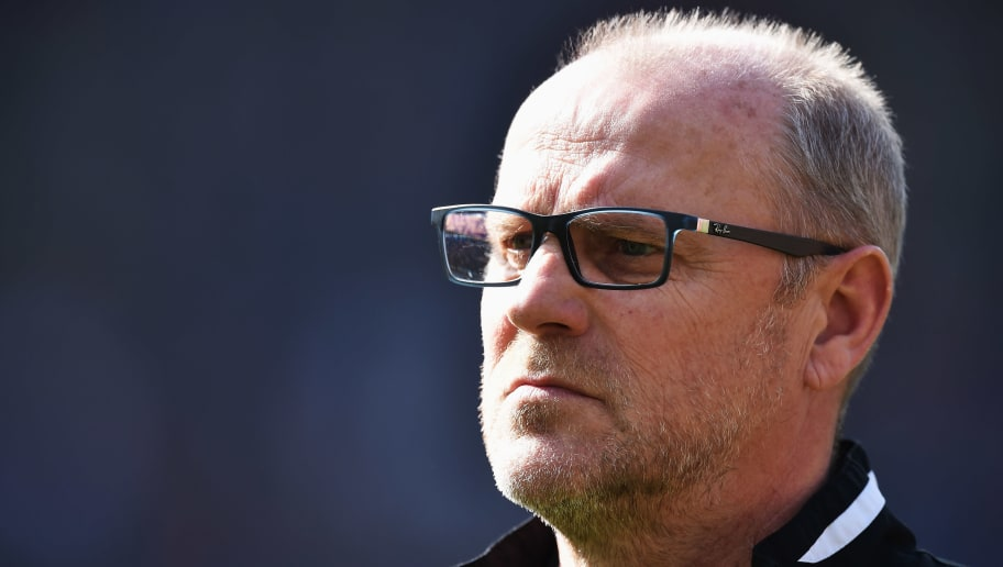 HANOVER, GERMANY - APRIL 02:  Thomas Schaaf, head coach of Hannover looks dejected during the Bundesliga match between Hannover 96 and Hamburger SV at HDI-Arena on April 2, 2016 in Hanover, Germany.  (Photo by Stuart Franklin/Bongarts/Getty Images)