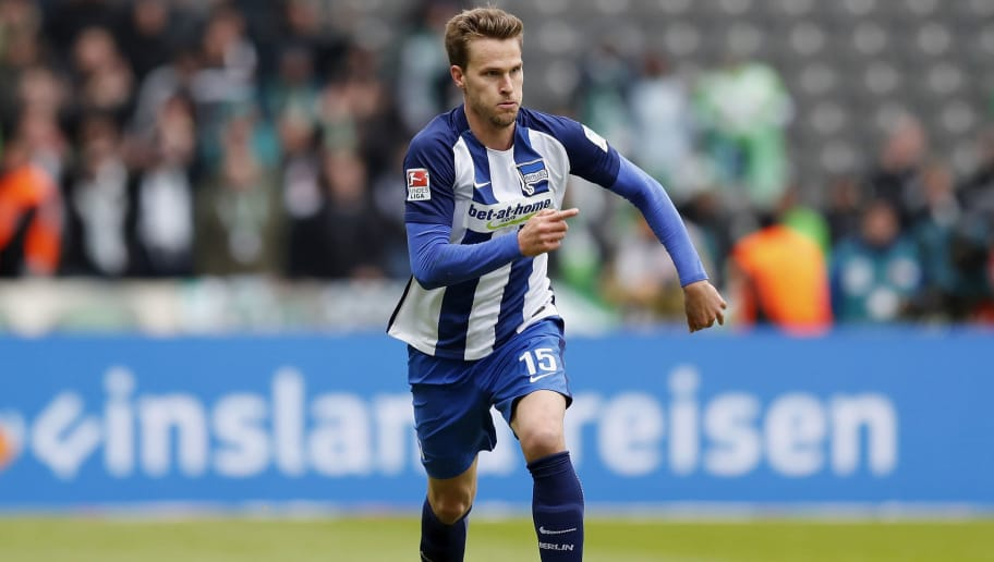 BERLIN, GERMANY - APRIL 22:  Sebastian Langkamp of Hertha BSC runs with the ball during the Bundesliga match between Hertha BSC and VfL Wolfsburg at Olympiastadion on April 22, 2017 in Berlin, Germany.  (Photo by Boris Streubel/Bongarts/Getty Images)