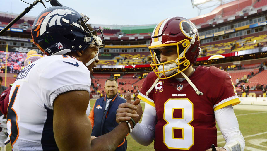 LANDOVER, MD - DECEMBER 24: Quarterback Kirk Cousins #8 of the Washington Redskins and wide receiver Bennie Fowler #16 of the Denver Broncos shake hands after the Redskins defeated the Broncos 27-11 at FedExField on December 24, 2017 in Landover, Maryland. (Photo by Patrick McDermott/Getty Images)