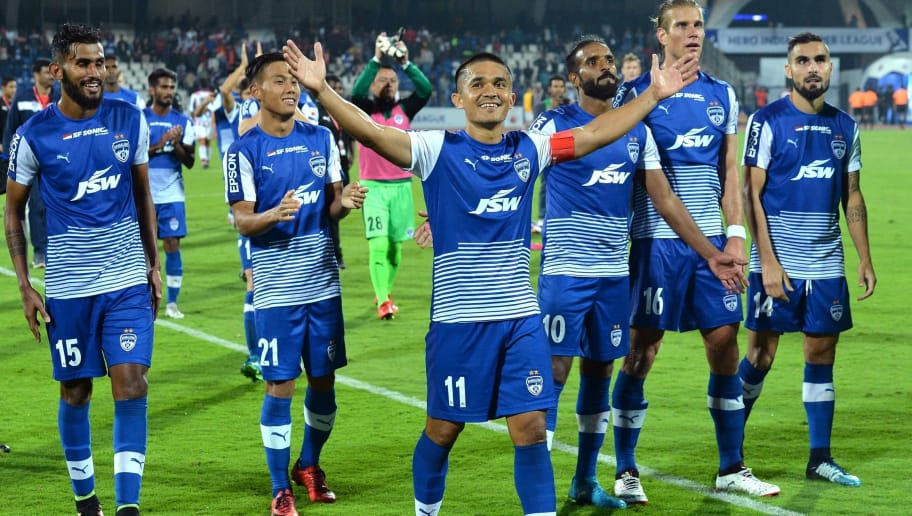 Bengaluru FC captain Sunil Chhetri (C) celebrates with his teammates after victory in the Hero ISL football match between BFC and ATK at The Shree Kanteerava Stadium in Bangalore on January 7, 2018. / AFP PHOTO / Manjunath KIRAN / RESTRICTED TO EDITORIAL USE        (Photo credit should read MANJUNATH KIRAN/AFP/Getty Images)