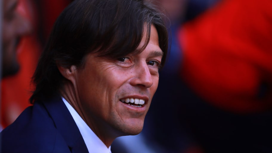 TOLUCA, MEXICO - JANUARY 07: Matias Almeyda coach of Chivas looks on during the first round match between Toluca and Chivas as part of the Torneo Clausura 2018 Liga MX at Nemesio Diez Stadium on January 7, 2018 in Toluca, Mexico.  (Photo by Hector Vivas/Getty Images)