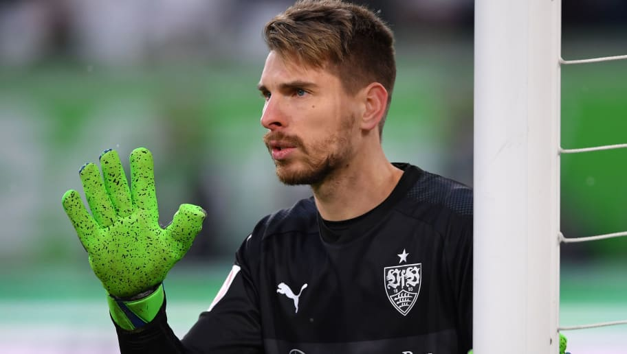 WOLFSBURG, GERMANY - FEBRUARY 03:  Ron-Robert Zieler of Stuttgart gestures during the Bundesliga match between VfL Wolfsburg and VfB Stuttgart at Volkswagen Arena on February 3, 2018 in Wolfsburg, Germany.  (Photo by Stuart Franklin/Bongarts/Getty Images)