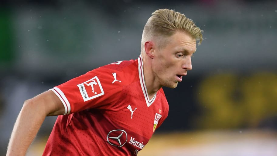 WOLFSBURG, GERMANY - FEBRUARY 03:  Andreas Beck of Stuttgart in action during the Bundesliga match between VfL Wolfsburg and VfB Stuttgart at Volkswagen Arena on February 3, 2018 in Wolfsburg, Germany.  (Photo by Stuart Franklin/Bongarts/Getty Images)