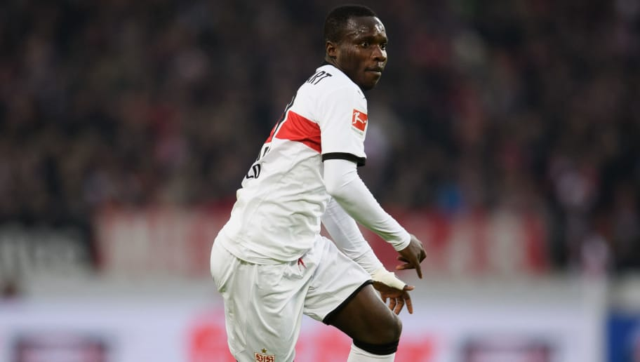 STUTTGART, GERMANY - JANUARY 13: Chadrac Akolo of Stuttgart controls the ball during the Bundesliga match between VfB Stuttgart and Hertha BSC at Mercedes-Benz Arena on January 13, 2018 in Stuttgart, Germany. (Photo by Matthias Hangst/Bongarts/Getty Images)