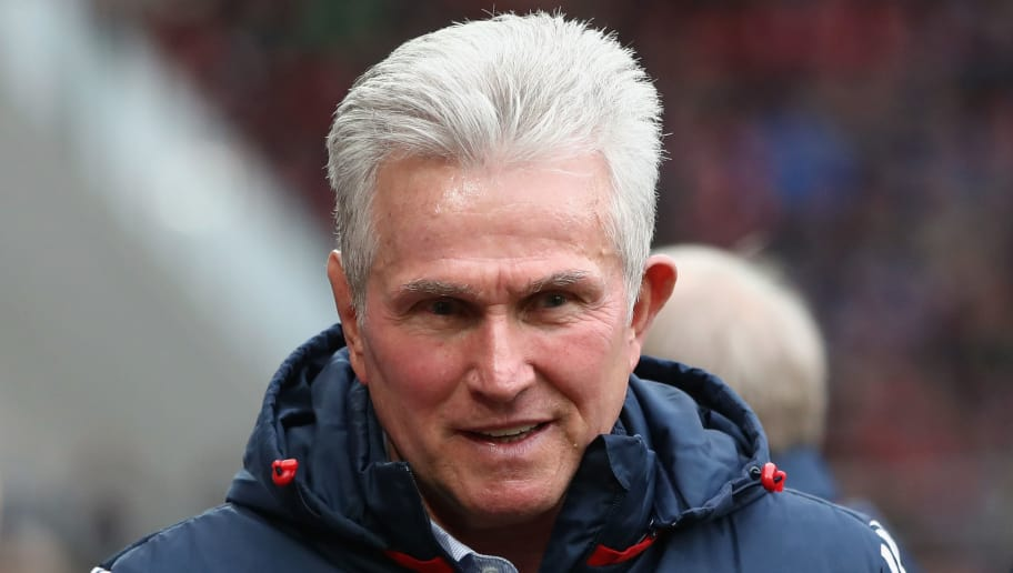 MAINZ, GERMANY - FEBRUARY 03: Head coach Jupp Heynckes of Muenchen looks on prior to the Bundesliga match between 1. FSV Mainz 05 and FC Bayern Muenchen at Opel Arena on February 3, 2018 in Mainz, Germany.  (Photo by Alex Grimm/Bongarts/Getty Images)