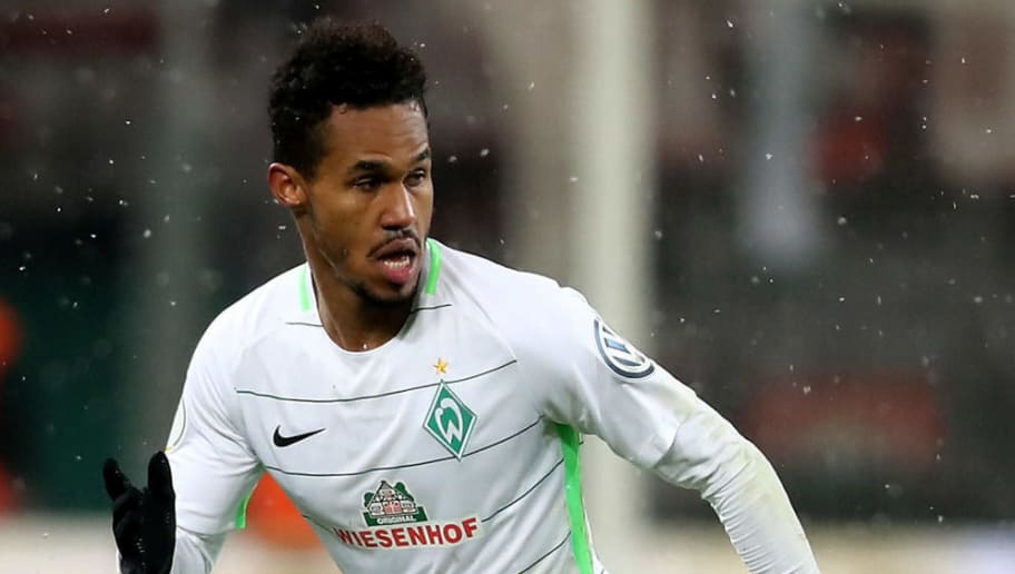 LEVERKUSEN, GERMANY - FEBRUARY 06: Theordo Gebre Selassie of Bremen runs with the ball the DFB Cup quarter final match between Bayer Leverkusen and Werder Bermen at BayArena on February 6, 2018 in Leverkusen, Germany. The match between Leverkusen and Bremen ended 4-2 after extra time. (Photo by Christof Koepsel/Bongarts/Getty Images)