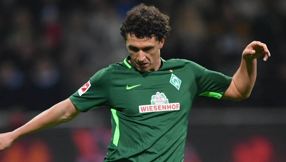 BREMEN, GERMANY - JANUARY 27:  Milos Veljkovic of Bremen in action during the Bundesliga match between SV Werder Bremen and Hertha BSC at Weserstadion on January 27, 2018 in Bremen, Germany.  (Photo by Stuart Franklin/Bongarts/Getty Images)