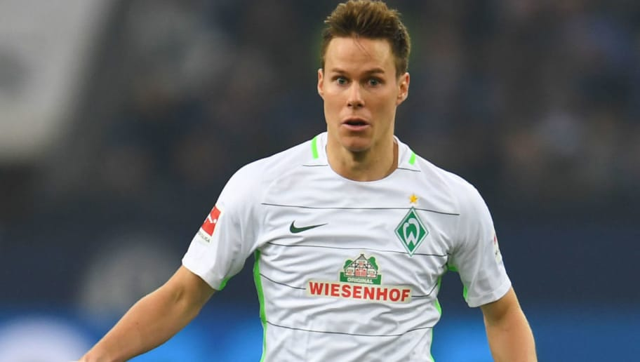 Bremen's Finnish defender Niklas Moisander controls the ball during the German first division Bundesliga football match Schalke 04 versus Werder Bremen on February 3, 2018 in Gelsenkirchen. / AFP PHOTO / Patrik STOLLARZ / RESTRICTIONS: DURING MATCH TIME: DFL RULES TO LIMIT THE ONLINE USAGE TO 15 PICTURES PER MATCH AND FORBID IMAGE SEQUENCES TO SIMULATE VIDEO. == RESTRICTED TO EDITORIAL USE == FOR FURTHER QUERIES PLEASE CONTACT DFL DIRECTLY AT + 49 69 650050         (Photo credit should read PATRIK STOLLARZ/AFP/Getty Images)