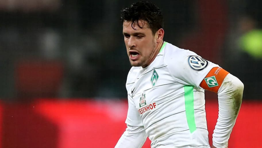 LEVERKUSEN, GERMANY - FEBRUARY 06: Zlatko Junuzovic of Bremen runs with the ball the DFB Cup quarter final match between Bayer Leverkusen and Werder Bermen at BayArena on February 6, 2018 in Leverkusen, Germany. The match between Leverkusen and Bremen ended 4-2 after extra time. (Photo by Christof Koepsel/Bongarts/Getty Images)