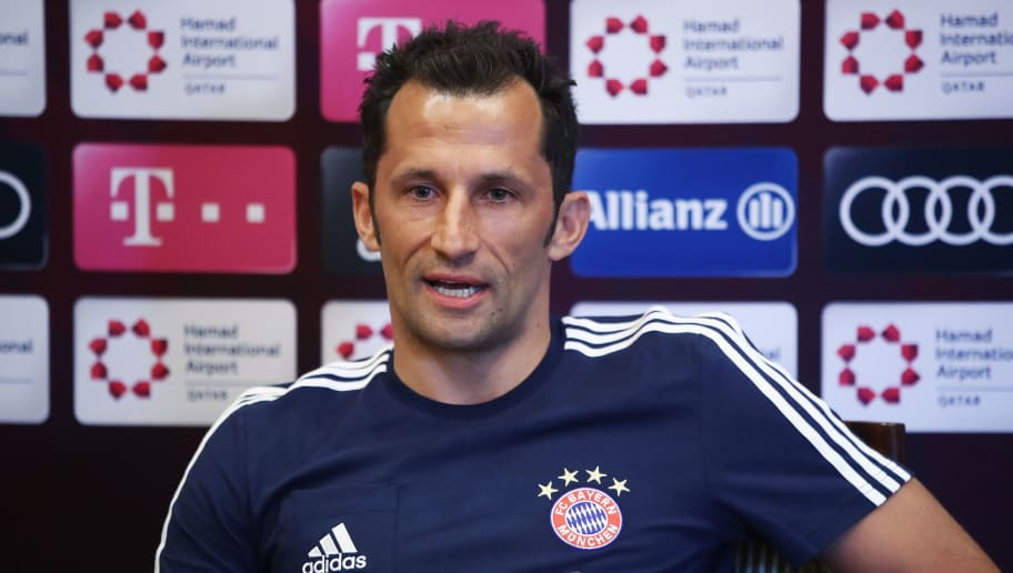 DOHA, QATAR - JANUARY 03:  Sport director Hasan Salihamidzic talks to the media during a press conference on day 2 of the FC Bayern Muenchen training camp at ASPIRE Academy for Sports Excellence on January 3, 2018 in Doha, Qatar.  (Photo by Alex Grimm/Bongarts/Getty Images)