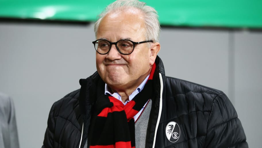 FREIBURG IM BREISGAU, GERMANY - OCTOBER 25:  President Fritz Keller of Freiburg looks on prior to the DFB Cup match between SC Freiburg and Dynamo Dresden at Schwarzwald-Stadion on October 25, 2017 in Freiburg im Breisgau, Germany.  (Photo by Alex Grimm/Bongarts/Getty Images)