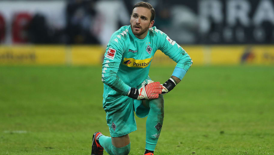 MOENCHENGLADBACH, GERMANY - FEBRUARY 03: Tobias Sippel of Moenchengladbach looks dejected after the Bundesliga match between Borussia Moenchengladbach and RB Leipzig at Borussia-Park on February 3, 2018 in Moenchengladbach, Germany. (Photo by Christof Koepsel/Bongarts/Getty Images)