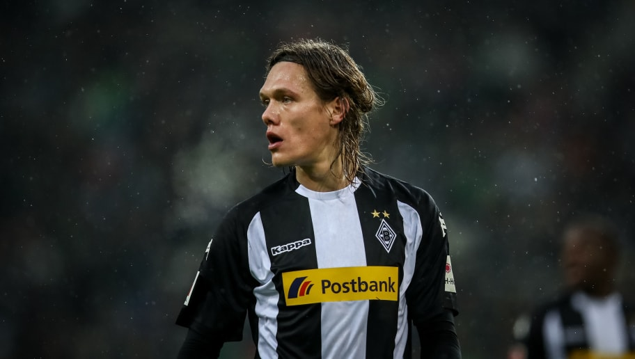 MOENCHENGLADBACH, GERMANY - JANUARY 20: Jannik Vestergaard of Moenchengladbach reacts during the Bundesliga match between Borussia Moenchengladbach and FC Augsburg at Borussia-Park on January 20, 2018 in Moenchengladbach, Germany. (Photo by Maja Hitij/Bongarts/Getty Images)