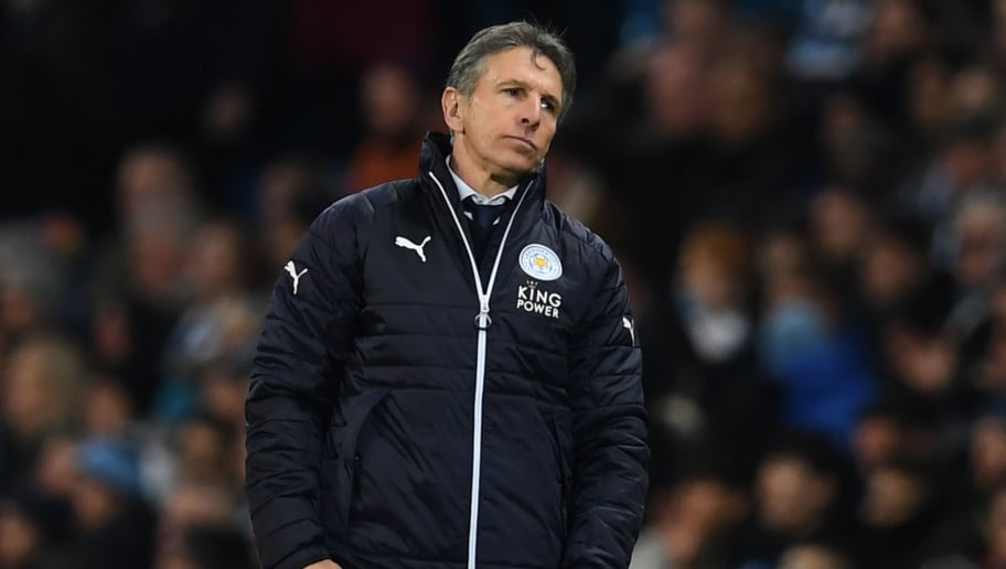 Leicester City's French manager Claude Puel gestures during the English Premier League football match between Manchester City and Leicester City at the Etihad Stadium in Manchester, north west England, on February 10, 2018. / AFP PHOTO / Paul ELLIS / RESTRICTED TO EDITORIAL USE. No use with unauthorized audio, video, data, fixture lists, club/league logos or 'live' services. Online in-match use limited to 75 images, no video emulation. No use in betting, games or single club/league/player publications.  /         (Photo credit should read PAUL ELLIS/AFP/Getty Images)