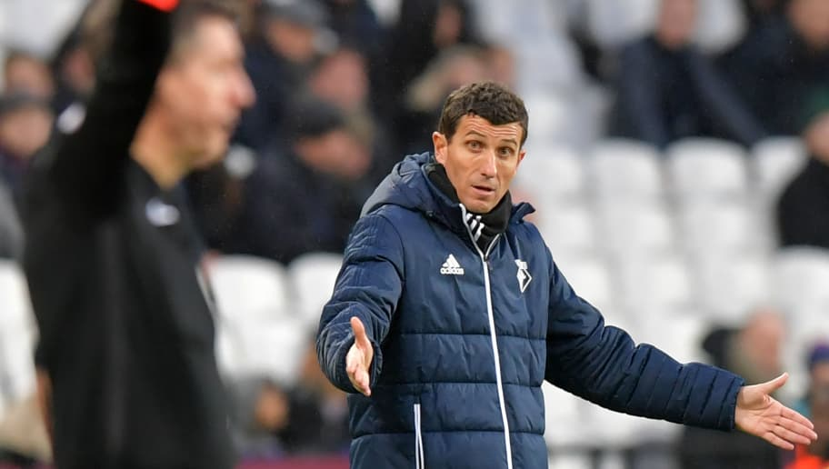 Watford's Spanish head coach Javi Gracia gestures on the touchline during the English Premier League football match between West Ham United and Watford at The London Stadium, in east London on February 10, 2018. West Ham won the game 2-0. / AFP PHOTO / OLLY GREENWOOD / RESTRICTED TO EDITORIAL USE. No use with unauthorized audio, video, data, fixture lists, club/league logos or 'live' services. Online in-match use limited to 75 images, no video emulation. No use in betting, games or single club/league/player publications.  /         (Photo credit should read OLLY GREENWOOD/AFP/Getty Images)