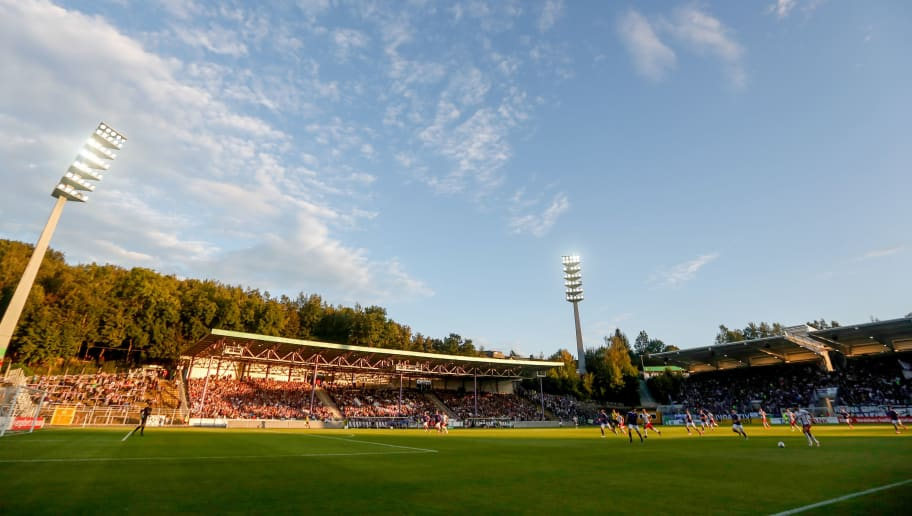 AUE, GERMANY - AUGUST 21:  A general view of Sparkassen-Erzgebirgsstadion during the DFB Cup match between Erzgebirge Aue and FC Ingolstadt on August 21, 2016 in Aue, Germany.  (Photo by Matej Divizna/Bongarts/Getty Images)