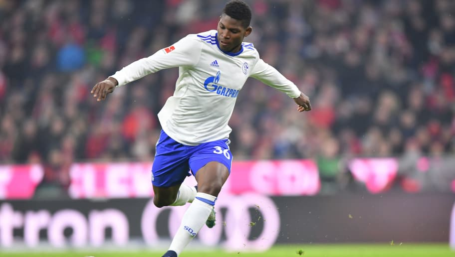 MUNICH, GERMANY - FEBRUARY 10: Breel Embolo of Schalke plays the ball during the Bundesliga match between FC Bayern Muenchen and FC Schalke 04 at Allianz Arena on February 10, 2018 in Munich, Germany. (Photo by Sebastian Widmann/Bongarts/Getty Images)