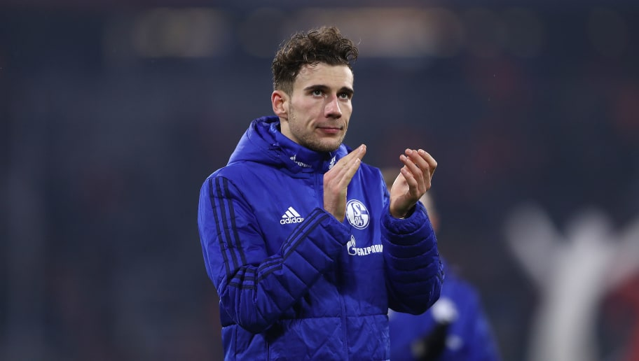 MUNICH, GERMANY - FEBRUARY 10: Leon Goretzka of Schalke applauds after the Bundesliga match between FC Bayern Muenchen and FC Schalke 04 at Allianz Arena on February 10, 2018 in Munich, Germany. (Photo by Alex Grimm/Bongarts/Getty Images)