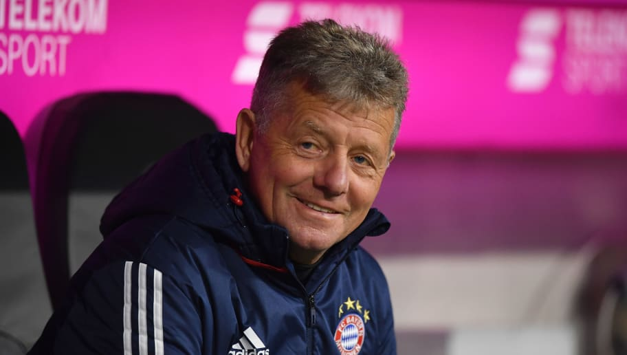MUNICH, GERMANY - FEBRUARY 10: Assistant coach Peter Hermann of Bayern Muenchen smiles during the Bundesliga match between FC Bayern Muenchen and FC Schalke 04 at Allianz Arena on February 10, 2018 in Munich, Germany. (Photo by Sebastian Widmann/Bongarts/Getty Images)