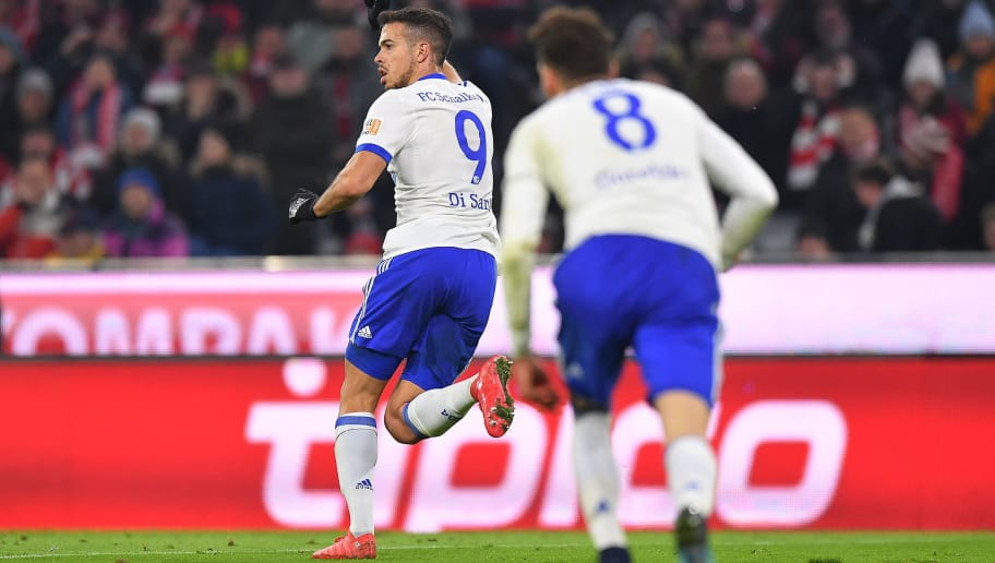 MUNICH, GERMANY - FEBRUARY 10: Franco Di Santo of Schalke (9) celebrates after he scored a goal to make it 1:1 during the Bundesliga match between FC Bayern Muenchen and FC Schalke 04 at Allianz Arena on February 10, 2018 in Munich, Germany. (Photo by Sebastian Widmann/Bongarts/Getty Images)