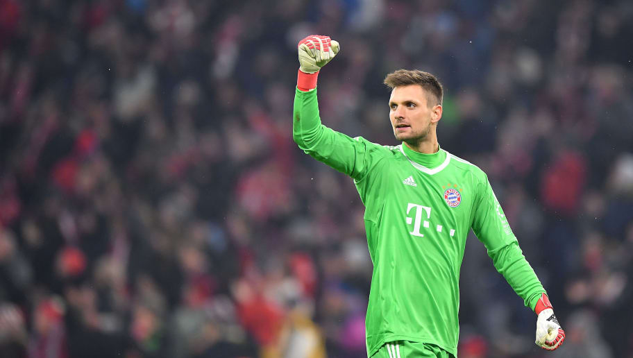 MUNICH, GERMANY - FEBRUARY 10: Sven Ulreich of Bayern Muenchen celebrates after Robert Lewandowski of Bayern Muenchen (not pictured) scored a goal to make it 1:0 during the Bundesliga match between FC Bayern Muenchen and FC Schalke 04 at Allianz Arena on February 10, 2018 in Munich, Germany. (Photo by Sebastian Widmann/Bongarts/Getty Images)