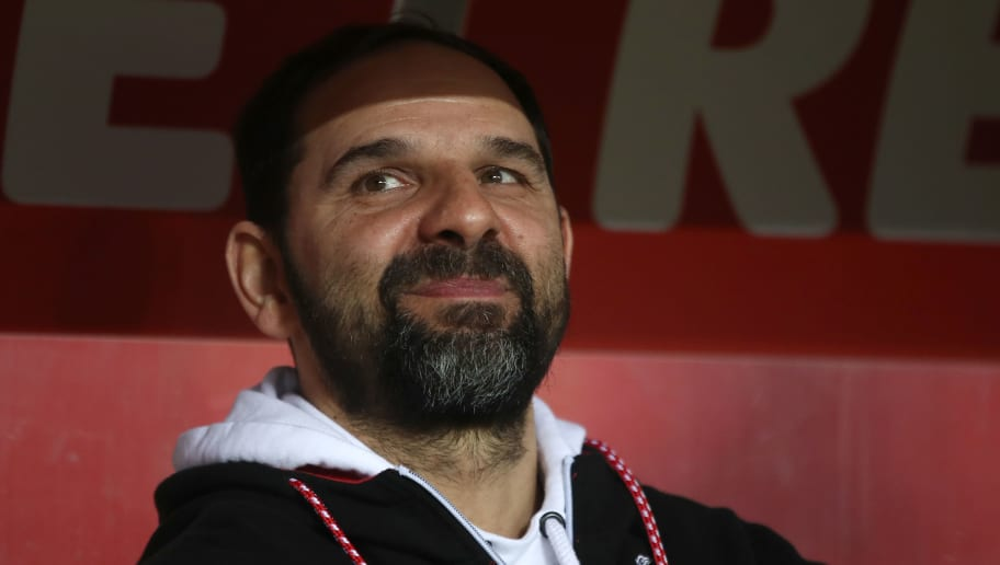 COLOGNE, GERMANY - FEBRUARY 02:  Stefan Ruthenbeck, head caoch of Cologne looks on during the Bundesliga match between 1. FC Koeln and Borussia Dortmund at RheinEnergieStadion on February 2, 2018 in Cologne, Germany.  (Photo by Alex Grimm/Bongarts/Getty Images)