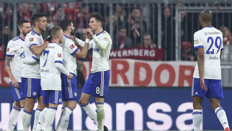 MUNICH, GERMANY - FEBRUARY 10: Franco Di Santo of Schalke (2nd left) celebrates with his team after he scored a goal to make it 1:1 during the Bundesliga match between FC Bayern Muenchen and FC Schalke 04 at Allianz Arena on February 10, 2018 in Munich, Germany. (Photo by Alex Grimm/Bongarts/Getty Images)