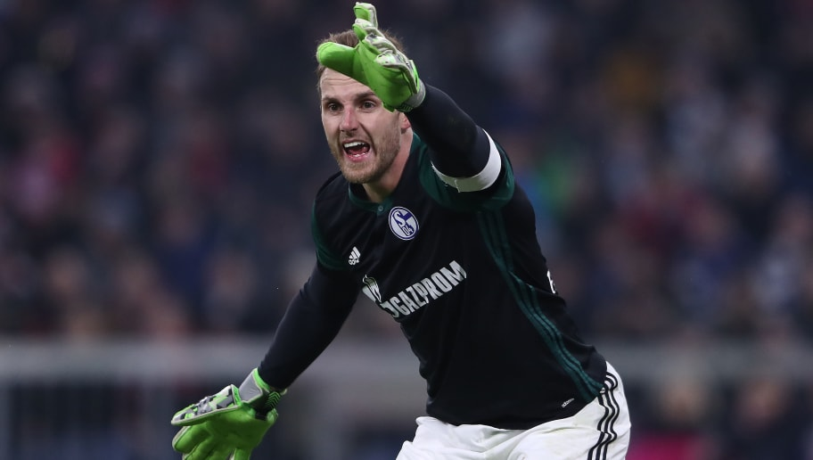 MUNICH, GERMANY - FEBRUARY 10: Goalkeeper Ralf Faehrmann of Schalke gestures during the Bundesliga match between FC Bayern Muenchen and FC Schalke 04 at Allianz Arena on February 10, 2018 in Munich, Germany. (Photo by Alex Grimm/Bongarts/Getty Images)