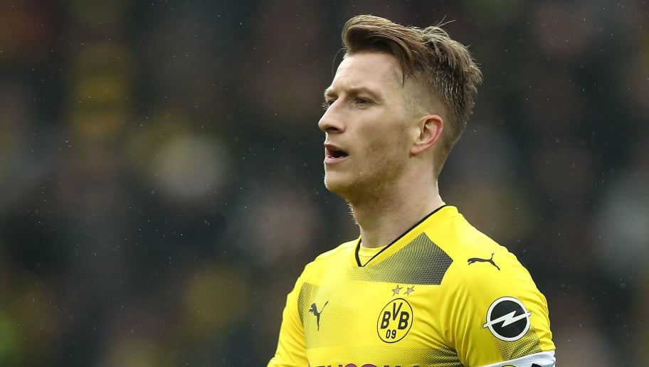 DORTMUND, GERMANY - FEBRUARY 10: Marco Reus of Dortmund look son during the Bundesliga match between Borussia Dortmund and Hamburger SV at Signal Iduna Park on February 10, 2018 in Dortmund, Germany. (Photo by Oliver Hardt/Bongarts/Getty Images)